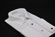 white plain collar pleated dinner shirt_079