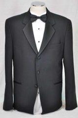 black 3 button satin lapell dinner suit_045
