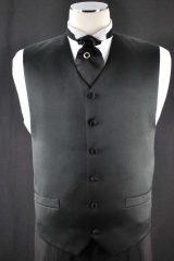 black plain satin vest_056
